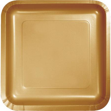 Glittering Gold Square Paper Plates 9- 8PC-463276