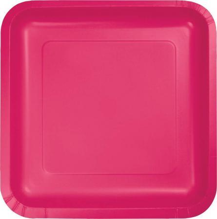 Hot Magenta Square Paper Plates 9- 8PC463277