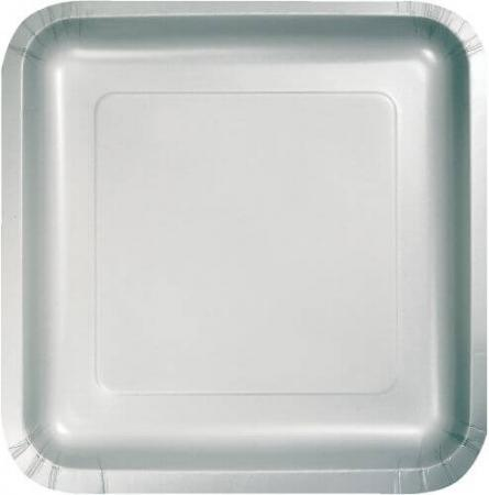 Shimmering Silver Sqr. Paper Plates 9- 8PC-463281
