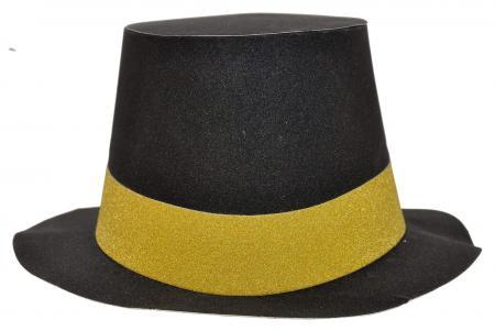 Black Glitter Hat Round_702343A