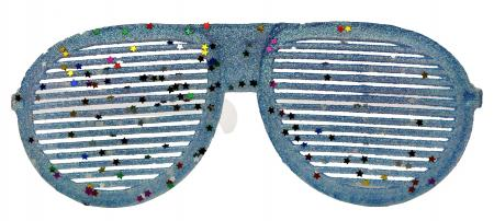 Neon Blue Glitter Round Shaped Shades_702352
