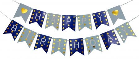Happy Birthday Blue & Dark Blue with Golden Polka Banner_702377