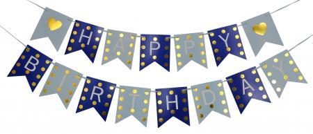 Happy Birthday Blue & Dark Blue with Golden Polka Banner_702377