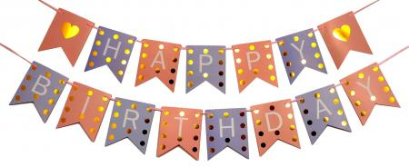 Happy Birthday Pink & Hot Pink with Golden Polka Banner_702378