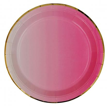 Pink Paper Plates with Golden Rim_702207A