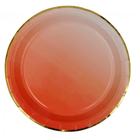 Red Paper Plates with Golden Rim_702208A