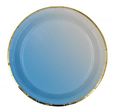 Blue Paper Plates with Golden Rim_702209A