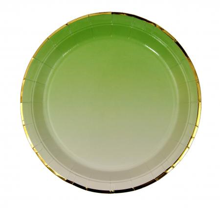 Sea Green Paper Plates with Golden Rim_702210A