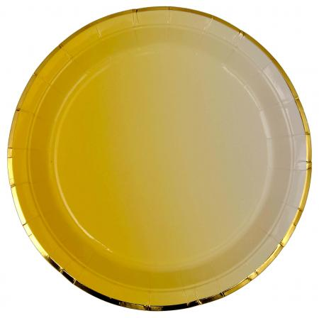 Macaron Yellow Paper Plates with Golden Rim_702211A