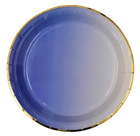 Purple Paper Plates with Golden Rim_702212A