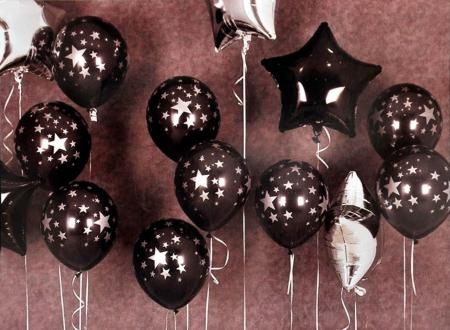 Black & Silver Star Print Latex Balloons with 2 Black Star & 3 Silver Star Foil_702462