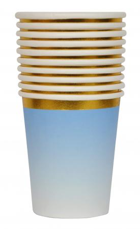 Blue Paper Cups with Golden Rim_702478A