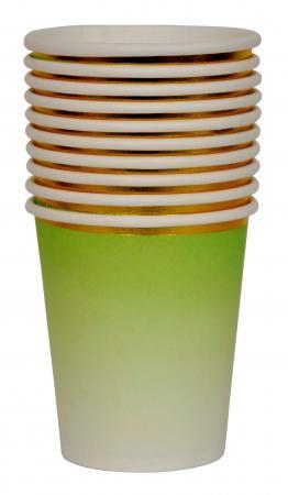 Green Paper Cups w_Golden Rim_702481A