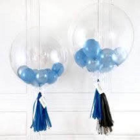 Clear Bubble Balloons w Blue 9 Balloons_702242A