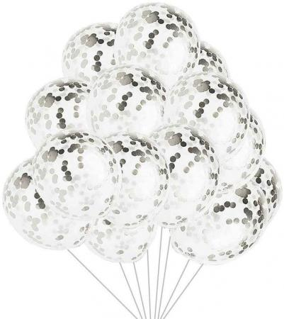 Clear Balloons with silver Confettis 702555