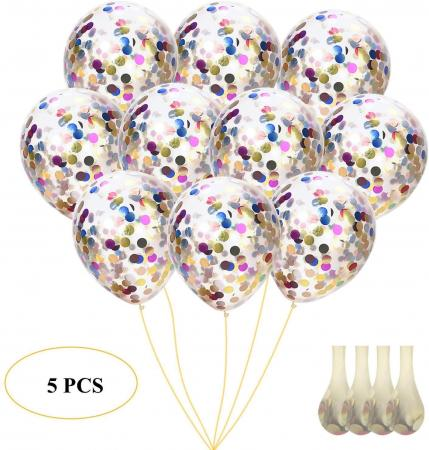 Clear balloons with Multicolor confettis 702551