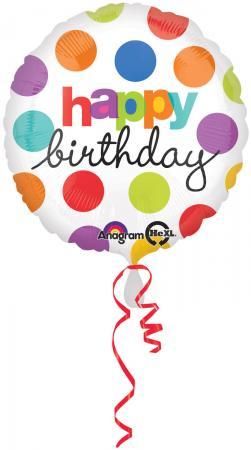 "18"" Polka Dots Birthday Balloons S40 -0"