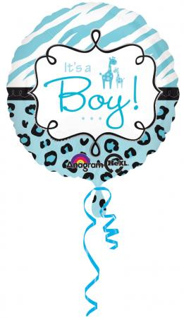 Blue Wild Safari Baby Shower Balloons 18in S40-0