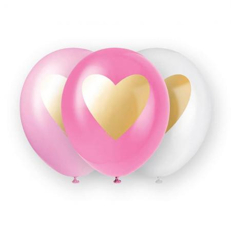 Gold Heart White Pink Latex_91304