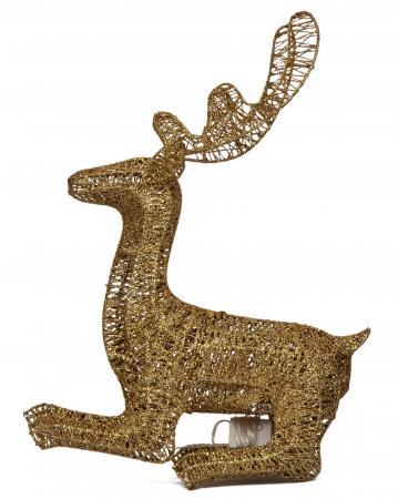 LED Golden Sitting Reindeer Decorative Piece_702608A