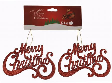 Christmas Tree Ornaments - Merry Christmas Hangings Red_702582A