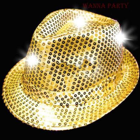 Light Up Sequin Hat Golden-0