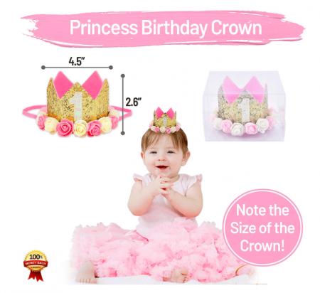 801159_1st Birthday Girl Crown_w Flower Hat