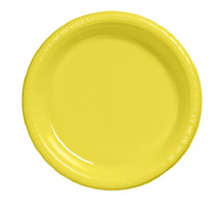 "7"" Premium Plastic Mimosa Yellow Plates - 20CT-0"