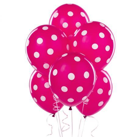 """Polka Dot Hot Pink Latex Balloons 12"""" - 100CT-0"""