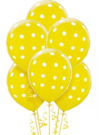"Polka Dot Yellow Latex Balloons 12"" 100CT-0"