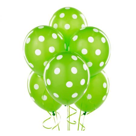 "Polka Dot Green Latex Balloons 12"" 10CT-0"