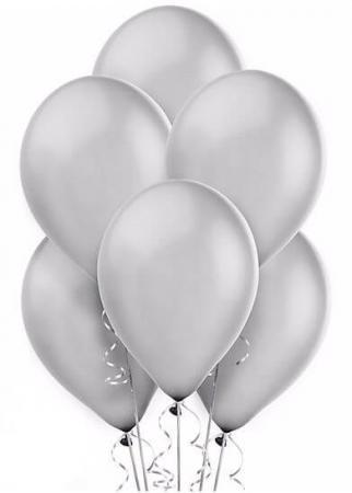 "Silver Latex Balloons 12"" - 10CT-0"