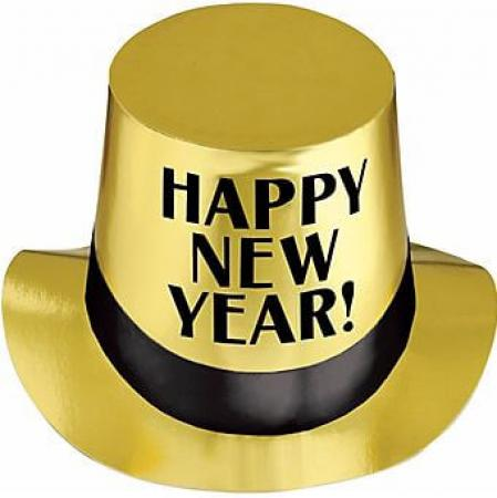 Gold New Year's Top Hat - 1PC-0