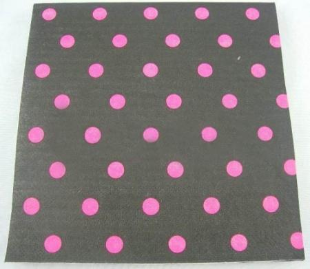Polka Dot Paper Napkins Black & Pink - 20 PC-0
