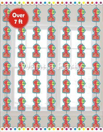 1st Birthday Boy String Decoration 7FT - 6PC-0