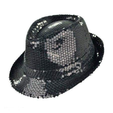 Sequin Fedora Hat Black-0