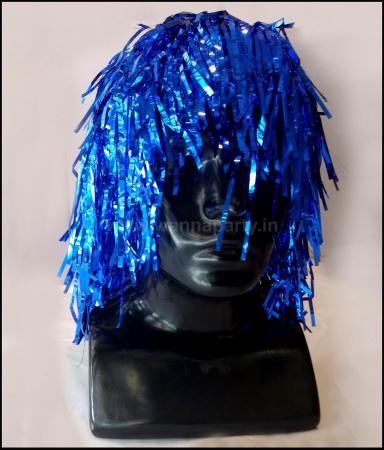 Disco Tinsel Wigs - Blue-0
