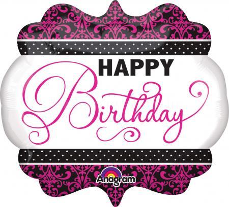 "Pink & White Birthday Balloons 25"" P35-0"
