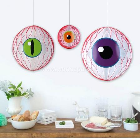 Evil Eye Honeycomb Ball Hanging - 3PC-0