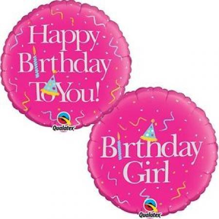 "Happy Birthday Girl Balloons 18""-0"