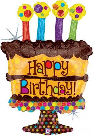 """Chocolate Birthday Cake Balloons 34""""-0"""