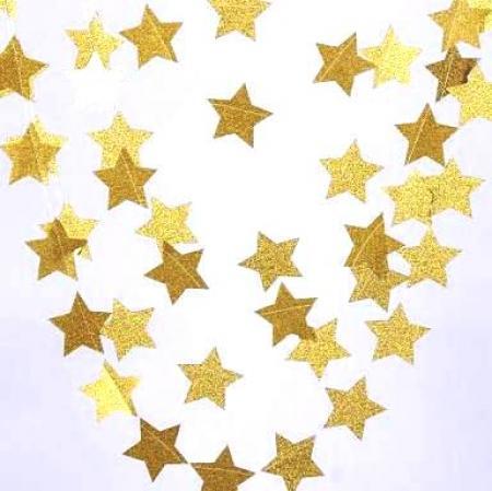 Glitter Star Golden String Decoration - 1PC-0