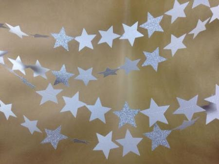 Glitter Star Silver String Decoration - 1PC-0